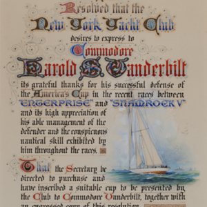 New York Yacht Club Commendation to the Enterprise